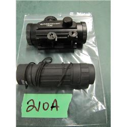 lock with Firepower 1 by 30 scope and monocular 12 x 25