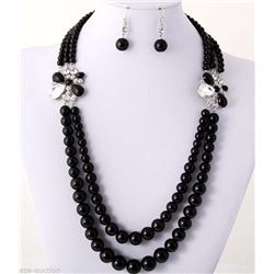 Classic Black Onyx bead Necklace & Earrings Set