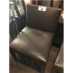 BROWN LEATHER RESTAURANT CHAIR
