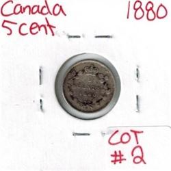 1880 Canadian Silver 5 Cent