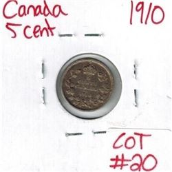 1910 Canadian Silver 5 Cent