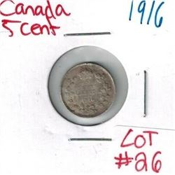 1916 Canadian Silver 5 Cent