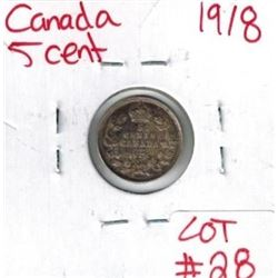 1918 Canadian Silver 5 Cent