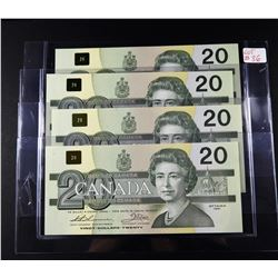 Lot of 4 $20 Consecutive Serial Number 1991 Canadian Banknotes UNC ($80 FV)