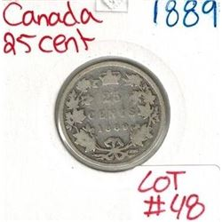 1889 Canadian Silver 25 Cent