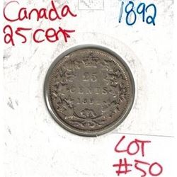 1892 Canadian Silver 25 Cent