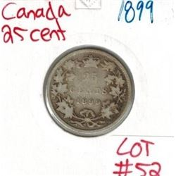 1899 Canadian Silver 25 Cent