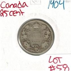 1904 Canadian Silver 25 Cent