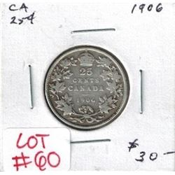 1906 Canadian Silver 25 Cent