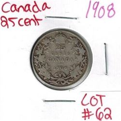 1908 Canadian Silver 25 Cent
