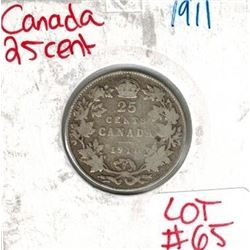 1911 Canadian Silver 25 Cent