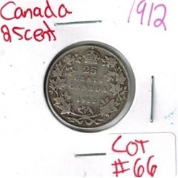 1912 Canadian Silver 25 Cent