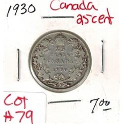 1930 Canadian Silver 25 Cent