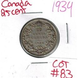 1934 Canadian Silver 25 Cent