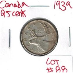 1939 Canadian Silver 25 Cent