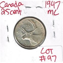 1947 Maple Leaf Canadian Silver 25 Cent