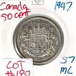 1947 Canada Silver 50 Cent STRAIGHT 7 MAPLE LEAF