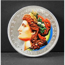 1921 Morgan Dollar COLOURIZED