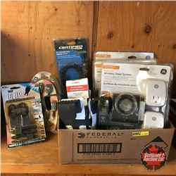 Box Lot: Electrical Timers, Cup Holders, etc