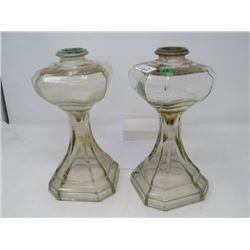 PAIR OF COLONIAL OIL LAMP BASES, NO SHADES
