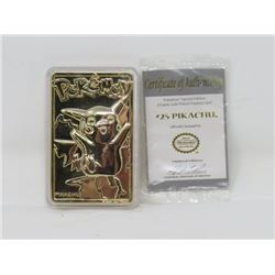 POKEMON - PIKACHU LE 23K GOLD PLATED TRADING CARDS, MINT