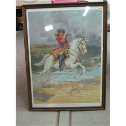 FRAMED PAINT KING WILLIAM CROSSING THE BOYNE 1901