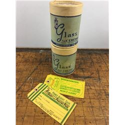 Prince Albert advertising Glass Ice Cream paper containers and Cream Tags