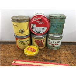 lot of 7 vintage tobacco tins