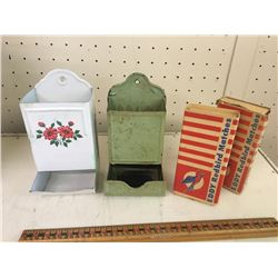 Lot antique match holders & Eddy red bird match boxes