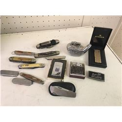 Lot of vintage lighters and pocket knives including a zippo