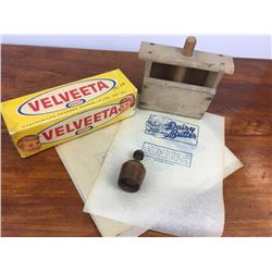 Butter lot w/ press, stamp, paper & cheese box