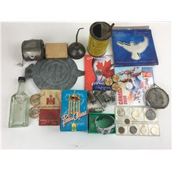 Miscellaneous junk drawer lot #3 coins tubes chimes watch Mountain Dew caps