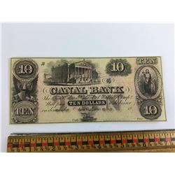 Late 1800s ten dollar canal bank note New Orleans REPRODUCTION