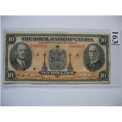 1935 Royal Bank of Canada - $10 Banknote - Ser. # 1085831