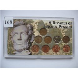 9 Decades of Lincoln Pennies Set - USA Lincoln Cents