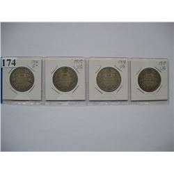 Canadian Silver Half Dollars - Set of 4 - 1916,  1917,  1918,  1919