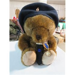 ROYAL CNADIAN LEGION COMMEMORATIVE TEDDY BEAR W/ ORIGINAL MEDAL