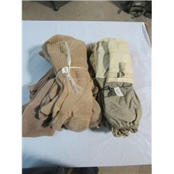 6 PAIR-1950S KOREAN WAR CANADIAN ARMY TRIGGER FINGER GLOVES W/ LINERS