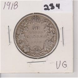 1918 CNDN SILVER 50 CENT PC
