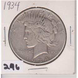 1934 US PEACE SILVER DOLLAR