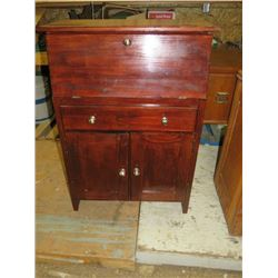 "MAPLE DROP LEAF DESK, DRAWER, 2 DOORS, APPROX 44""H"