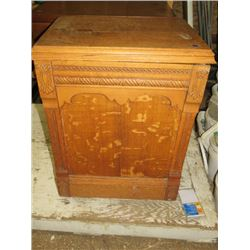 "OAK SEWING MACHINE CABINET 1 DOOR, APPROX 36""H"