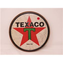 "TEXACO SIGN, METAL, REPRODUCTION, ROUND 11.75"" ACROSS"
