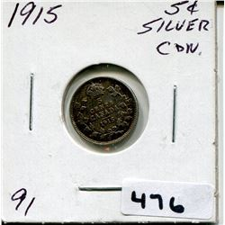 1915 CNDN SMALL SILVER 5 CENT PC
