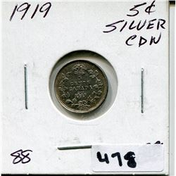 1919 CNDN SMALL SILVER 5 CENT PC