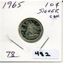 1965 CNDN SILVER DIME UNCIRCULATED