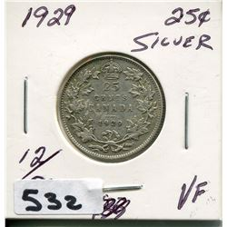 1929 CNDN SILVER 25 CENT PC