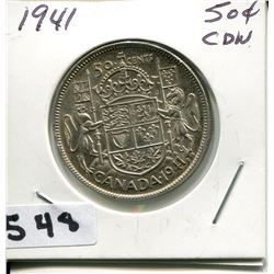 1941 CNDN SILVER 50 CENT PC
