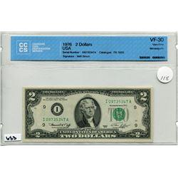 1976 US 2 DOLLAR BILL CCS V5-30