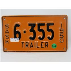 1950 SK TRAILER LICENSE PLATE